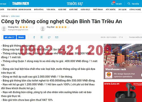 Thông cống nghẹt quận Bình Tân Triều An chất lượng tốt
